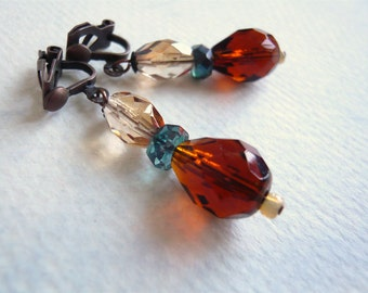 Brown Teal Coral and Gold Clip On Earrings