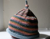Cool Stripe Knotted Pixie Hat, size 3-6 months, cotton stripe