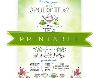 Tea for Two Baby Shower Invitation Printable