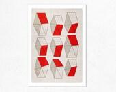 Geometric Neighborhood. Illustration print 8.27 x 11.70 (A4).