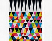 Triangles N.2. (colourful & black). Geometric large print (A3). (Special SPRING offer: Get a poster for free)