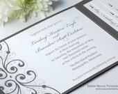 Charcoal slate french grey gray Shimmer Metallic Crystal Pocket Folders Folder Wedding Invitations Invitation Invites Invite Sample