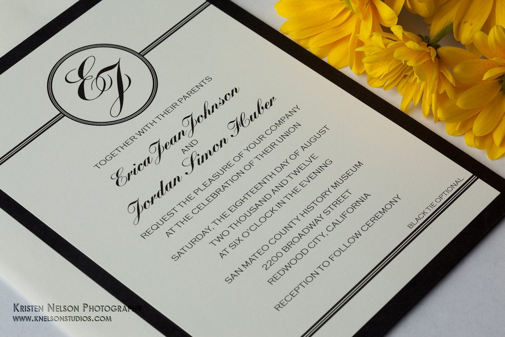 Black Tie Optional Wedding Invitations Sets / Sample