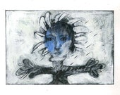 Flower face art painting original acrylics small paper