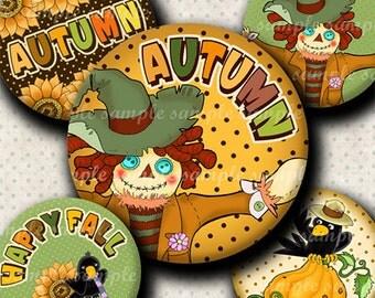 INSTANT DOWNLOAD Happy Fall (541) 4x6 Bottle Cap Images Digital Collage Sheet for bottlecaps glass tiles hair bows .. bottlecap images