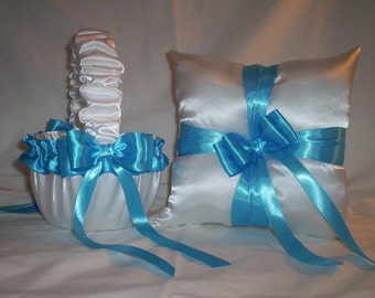 White Satin With Turquoise Ribbon Trim Flower Girl Basket And Ring Bearer Pillow Set 1