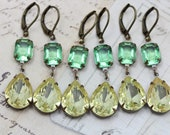Bridesmaids Jewelry Yellow Green Rustic Wedding Earrings Jonquil Peridot Vintage Glass Bridesmaids Earrings 6 PAIRS -  Wedding Clip On Avail