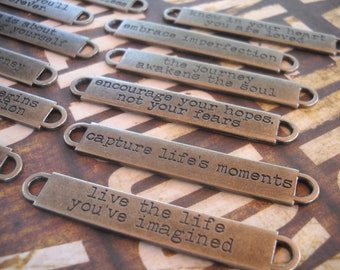 Quote Connectors-Word Connectors-Word Bands-Quote Pendants-12pcs Antiqued Silver Assorted Quotes