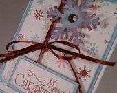 Merry Christmas Blue and Burgundy Snowflake Card
