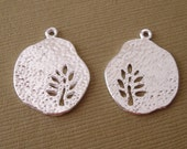 Leaf  Tree Charm Pendant  Hollow Cut Silver Plated- 4pcs.