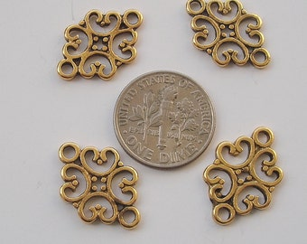 20pcs-Pendant, Charm Connector Flower  Antique Gold 12x19mm.