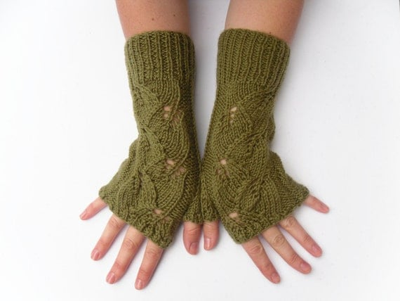 Long fingerless lace gloves-  hand knit handwarmers - green wool autumn / winter accessories - christmas / holiday gift