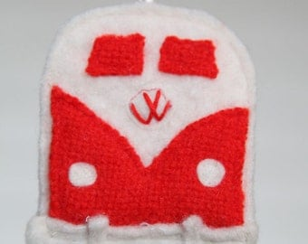 red VW bus ornament - recycled felted wool
