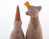 Every princess needs a dwarf  - She in orange crown Turquoise Polka Dots scarf and he in brown pointy hat - eco timohandmade dolls