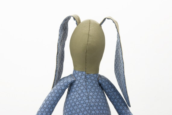 Fabric doll - Olive Rabbit Wearing blue Retro shirt with circles and  Jeans  - handmade Plush doll
