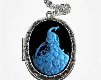 Peacock Cameo Locket Necklace