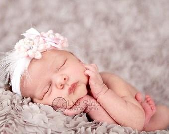 Newborn headbands Baby headband Adult headband Child headband Baby hairbow Photo prop Preemie headband feather headband flower headband
