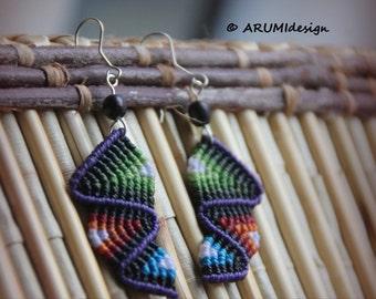 Fiber dangle earrings PURPLE & GREEN RAINBOW, macrame earrings with silver hooks and natural seeds