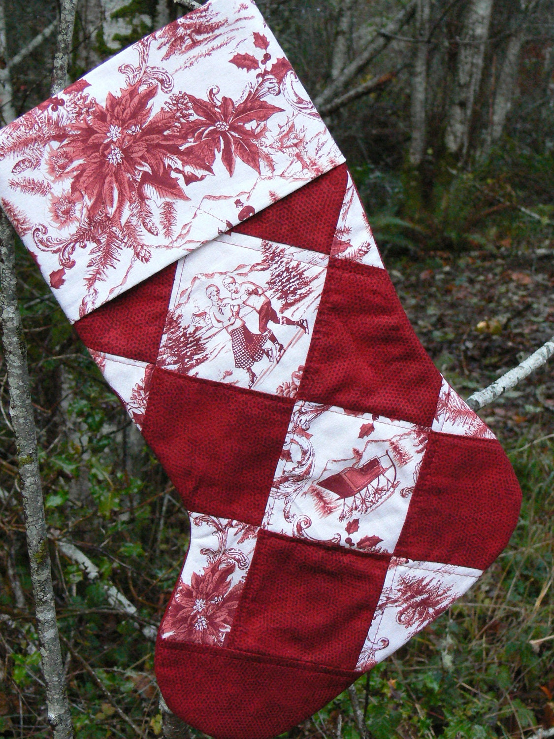 Victorian Quilted Christmas Stocking