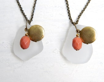 White Sea Glass Necklace - Locket & Coral Bead - Vintage Style Charm Necklaces - Genuine Chesapeake Bay Beach Glass Jewelry