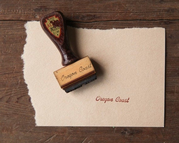 """Vintage Rubber Stamp - Wooden Handle - """"Oregon Coast"""""""