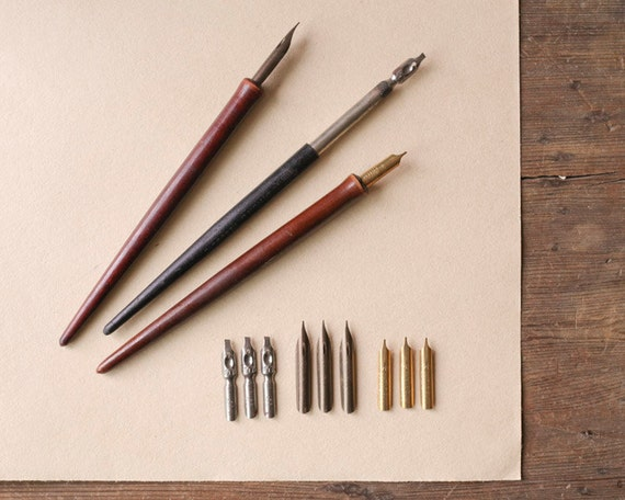 Vintage Fountain Dip Pens With Nibs Liquid Ink Writing