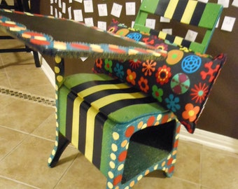 Handpainted OLD school desk with chalkboard TOP DESK painting only desk not included