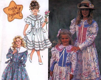 Simplicity 7132 Child's Dress with Trim Variations Sewing Pattern - Uncut - Size 2, 3, 4, 5, 6, 6X
