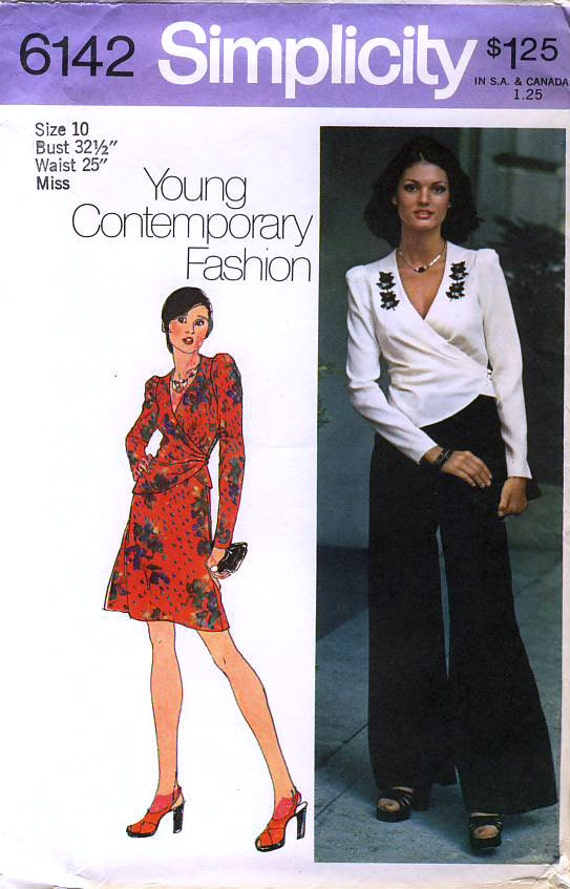 Simplicity 6142 Young Contemporary Fashion Vintage 70s Misses' Wrap Top, Short Skirt and Pants Sewing Pattern - Uncut - Size 10 - Bust 32.5