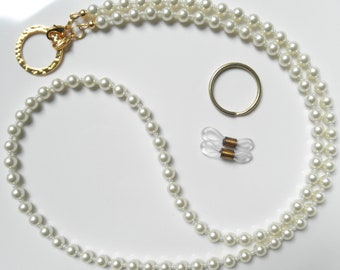 Cream Swarovski Pearl Gold Convertible Eyeglass Lanyard Chain Necklace, More Colors Avail. - Badge Lanyard, Sunglasses Chain, Pearl Lanyard