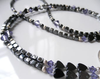 Hematite Hearts ID Lanyard - Badge Holder - Purple Tanzanite Swarovski Crystal Silver Heart Lanyard - Keychain - Hematite Lanyard