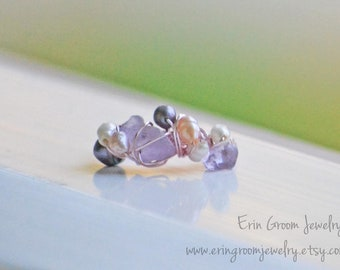 Mermaid Ring - amethyst, rose quartz, freshwater pearl rose gold wire wrapped ring