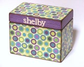 Reserved for JillsterH - Recipe Box & set of 6 dividers - Purple Green Circles - Personalized