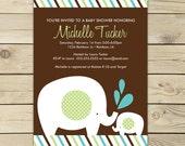 Elephant Baby Shower Invitation Printable - Aqua Blue Brown Light Green - Elephant Invite - Elephant Invitation - Boy Baby Shower