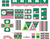 Christmas Party Decorations Printable - Christmas Decorations - Santa Party - Christmas Party Printables - Christmas Party Package