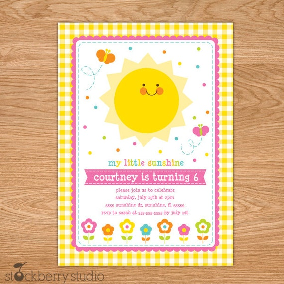 You Are My Sunshine Birthday Invitation Printable - Sun Invitation - You Are My Sunshine Invites - You Are My Sunshine Invitation - Pink