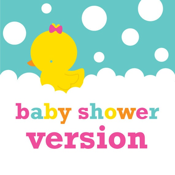 girl rubber ducky duckie baby shower printable by stockberrystudio