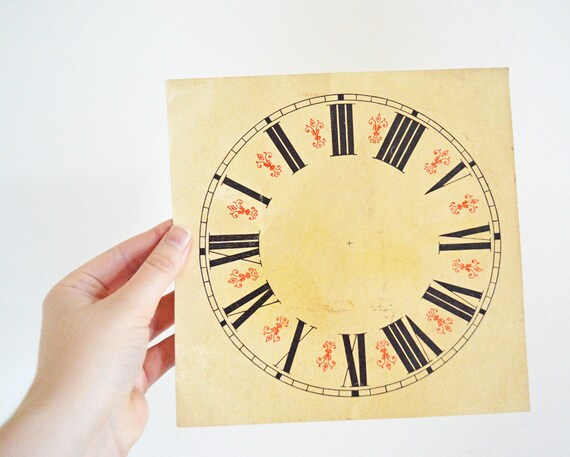 Wonderful Vintage Paper Clock Face Red Black Roman Numeral Cream White Steampunk Victorian Ornate Print