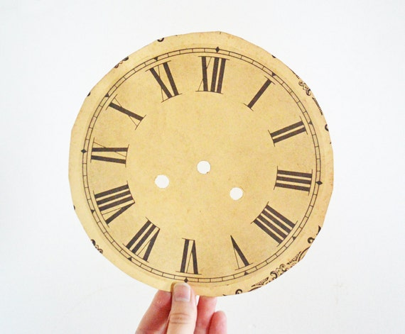 Vintage Paper Clock Face Roman Numeral Black Cream By