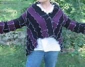 smoldering in the cauldron short kimono wrap sweater, light/mid weight, vegan, recycled, upcycled clothing, gypsy, purple, black, metallic