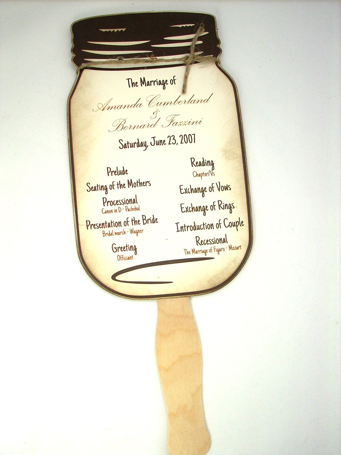 Wedding Program Mason Jar Wedding Program By Scrappingoodtimes