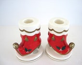 Vintage Candle Holder Pair Napcoware Red Gold Santa Boot Christmas Candleholders Holiday 1950s Mid Century Decoration