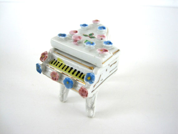Vintage Trinket Box Piano Ceramic Japan