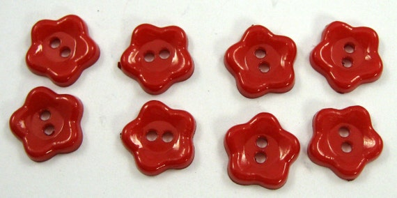 Red Small Flower Buttons Set of Eight
