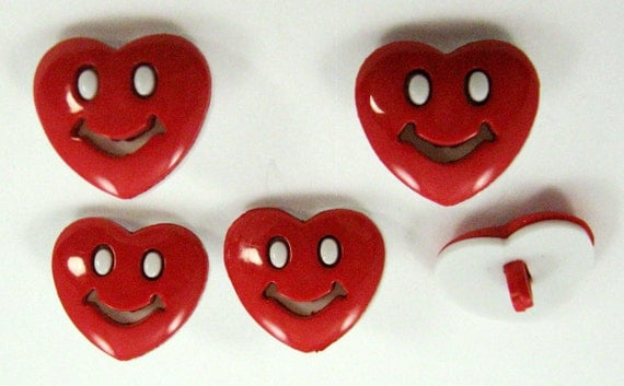 Smiley Heart Buttons Set of Five