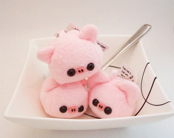 Kawaii Pig Cube Plush Keychain soft toy bag charm in pink fleece