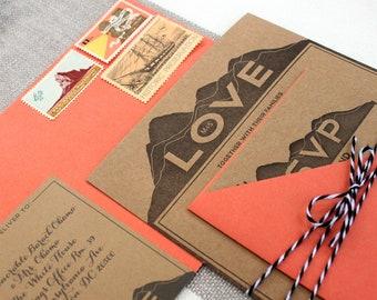 LOVE Letterpress Wedding Invitations - SAMPLE