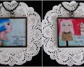 Reversible Pendant - Brave/Penelope Poppet... 2 inch...