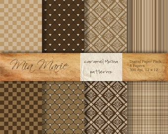 INSTANT DOWNLOAD - Digital Papers Scrapbooking Backgrounds Brown Cream Coffee Caramel Cocoa Checkerboard Plaid Stripes Printable 12x12 jpg
