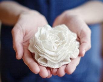 White rose, felted brooch eco friendly soft flower cream blue Wedding bridesmaid spring fashion pastel